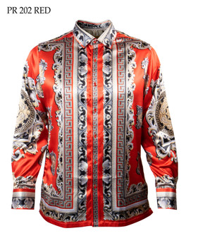 PRESTIGE VERSACE INSPIRED RED GOLD SHIRT (PR-202-RED)
