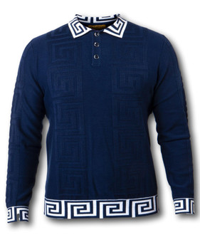 PRESTIGE GREEK KEY NAVY POLO SHIRT (SW-018-NAVY)