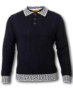 PRESTIGE GREEK KEY BLACK POLO SHIRT (SW-018-BLACK)