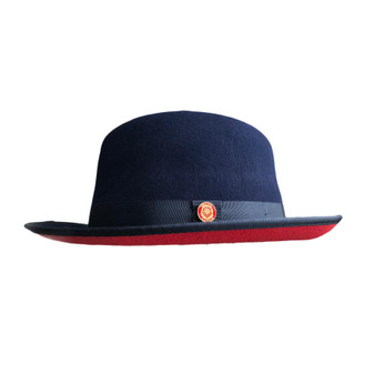 Navy Blue Red Bottom Fedora Brim Hat (PR-305)