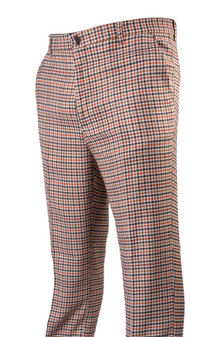 Plaid Orange Brown Houndstooth Pants (PLD-305-TAN-2)