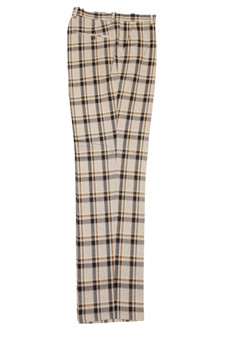 Plaid Khaki Brown White Pants (PLD-305-KHAKI-2)