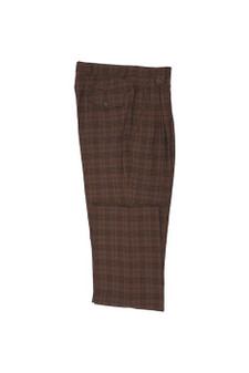 Tiglio Brick Brown Blue Windowpane Wide Leg Dress Pants (TLS20048/3)