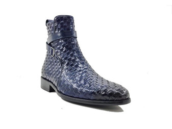 CARRUCCI BASKET WEAVE BUCKLE BOOT (KB886-17X -NAVY)