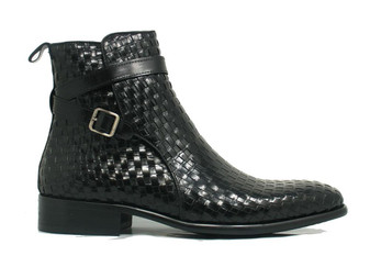 CARRUCCI BLACK BASKET WEAVE BUCKLE BOOT (KB886-17X -BLACK)