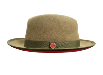 Olive Green Red Bottom Fedora Brim Hat