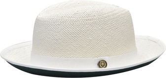 White Green Bottom Fedora Brim Straw Hat