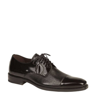 "Mezlan ""Soka"" Black Deerskin Cap Toe Shoes"