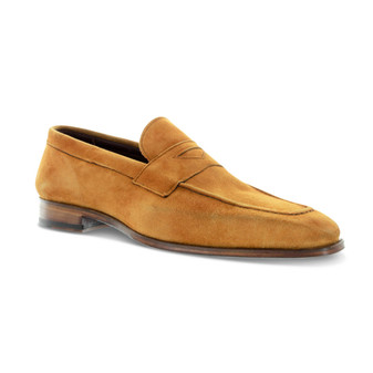 Emilio Franco Cognac Brown Suede Penny Loafer Shoes