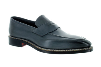 Emilio Franco Graphite Grey Burnish Toe Penny Loafer Shoes (GRAGIO-B1524)