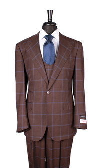 Tiglio Brown Blue Plaid Windowpane Luca 3 Piece Suit (40.4159/2)