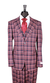 Tiglio Burgundy Red Navy Plaid Pomino 3 Piece Suit (11055/F/4/2)