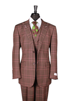 Tiglio Rosso Portofino Brown Pink Prince of Whales 2 Button 3 Piece Suit (RF2627/1)