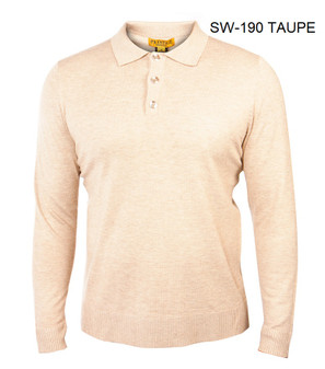 PRESTIGE TAUPE THREE BUTTON SWEATER.