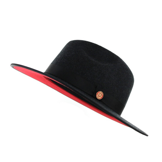 Charcoal Grey Red Bottom Flat Brim Fedora Hat The Mornarch