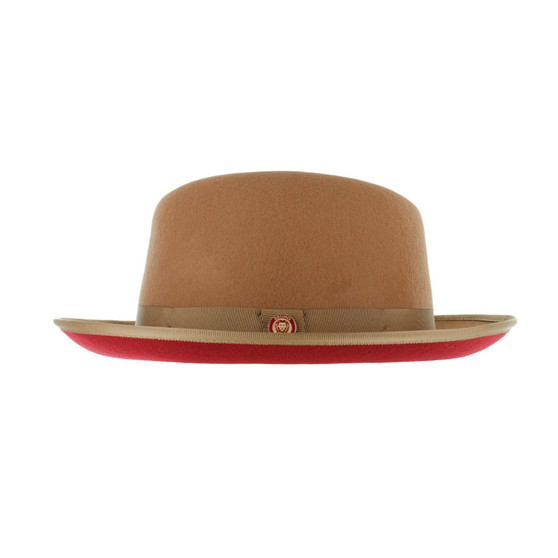 Acorn Camel Red Bottom Fedora Brim Hat