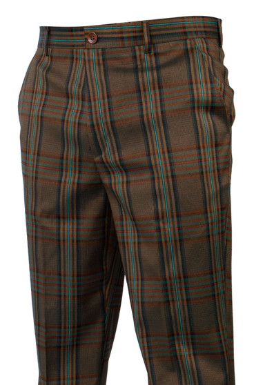 Plaid Hunter Olive Orange Teal Pants (PLD-205-HUNTER)