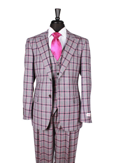 Tiglio Blue Magenta/Red Navy Plaid 3 Piece Suit