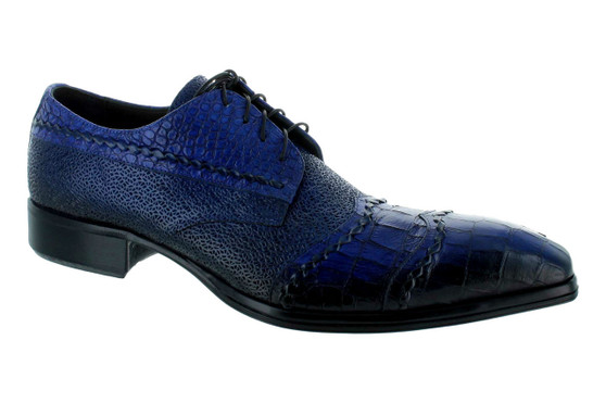 Jo Ghost Blue Gator Print Louisiana Baby Wing Tip Oxford Shoe