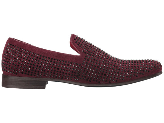 CARRUCCI BURGUNDY RHINE STUDDED LOAFER SHOES