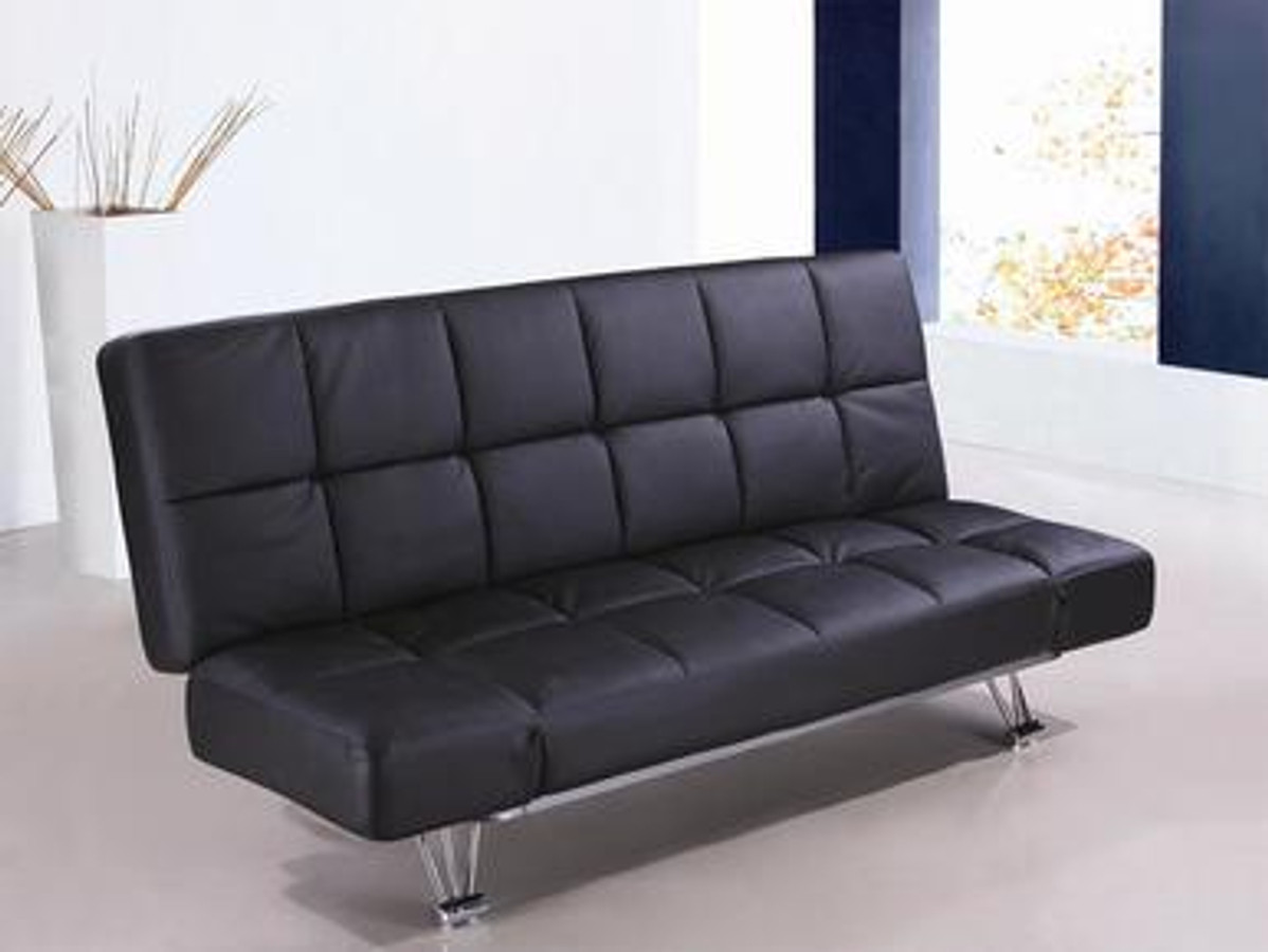 Superb Venus Black Leatherette Sofa Bed Caraccident5 Cool Chair Designs And Ideas Caraccident5Info