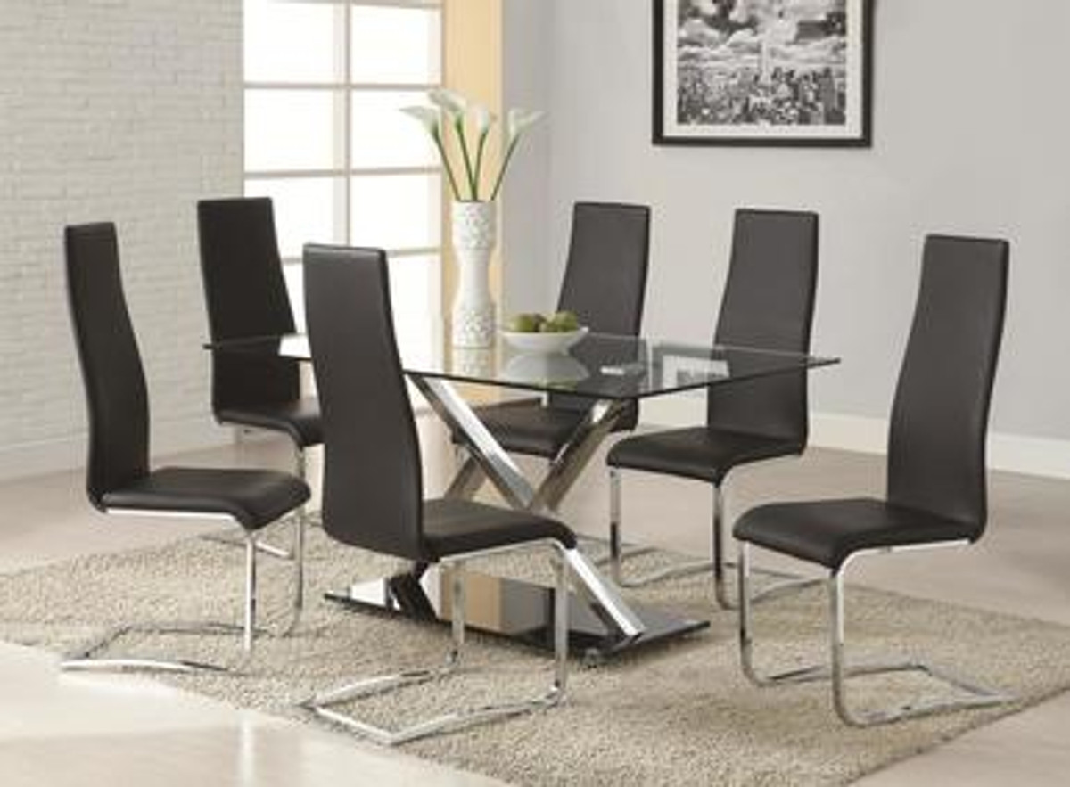 Awesome Set Of 4 Modern Dining Black Faux Leather Dining Chairs With Chrome Legs Caraccident5 Cool Chair Designs And Ideas Caraccident5Info