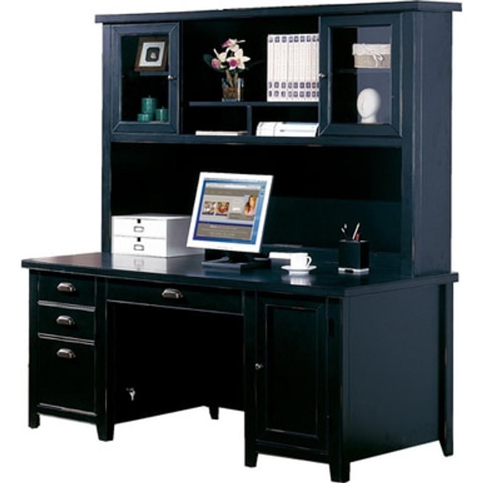 Tribeca Loft Black Double Pedestal Desk Hutch Mmfurniture Com