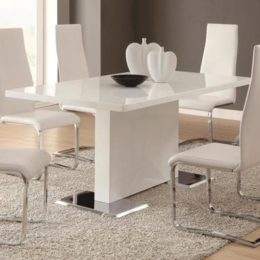 Modern Dining White Dining Table With Chrome Metal Base Mmfurniture Com