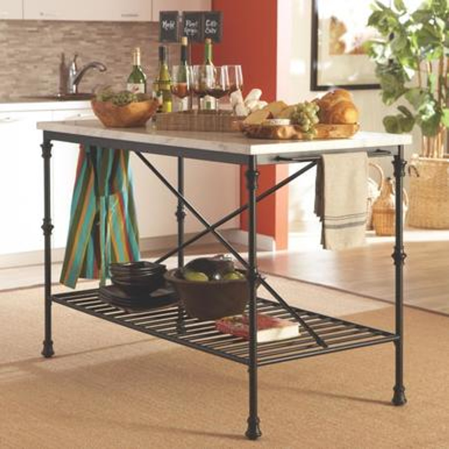 Kitchen Carts Kitchen Island with Faux Marble Top