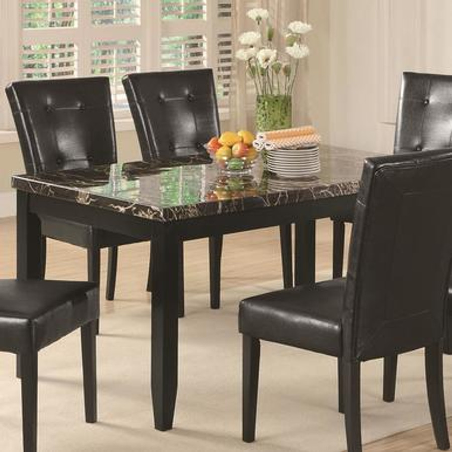 Anisa Dining Table With Black Faux Stone Top Mmfurniture Com
