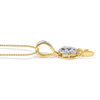 10K Gold Flower Pendant 0.15ct Diamonds With Chain