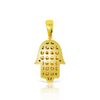 10K Yellow Gold Hamsa Hand Pendant 0.81ct with Chain