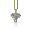 10K Yellow Gold Elephant Pendant 1.88ct with Chain
