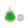 10K Yellow Gold Baguette Buddha Jade Pendant 2.48ct with Chain
