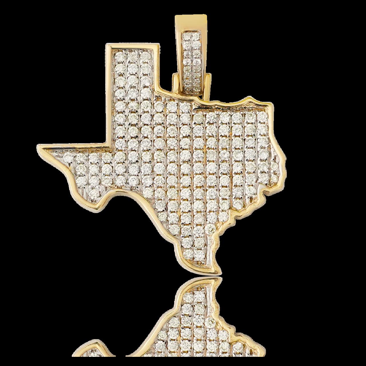 10K Yellow Gold Texas Diamond Map Pendant 1 50Ct