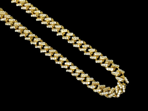 Men s Real Diamond Chain Cuban Necklace 10K Yellow Gold 22