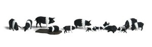HO Scale Woodland Scenics Hampshire Pigs 1864 OL 1