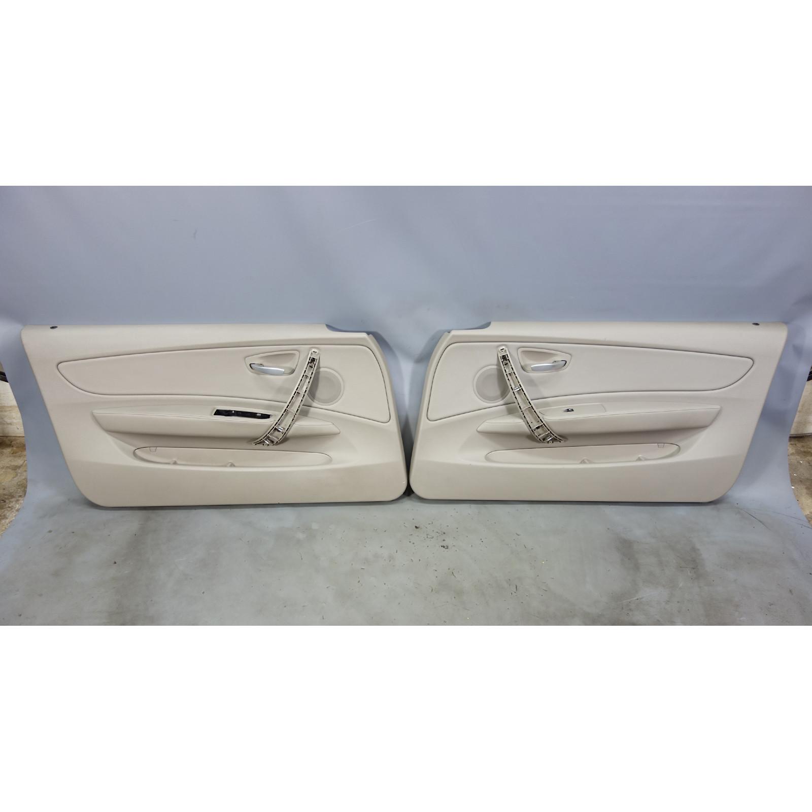 08 13 Bmw E82 E88 1 Series Front Interior Door Panel Trim Skin Pair Beige Vinyl 28388 Prussian Motors