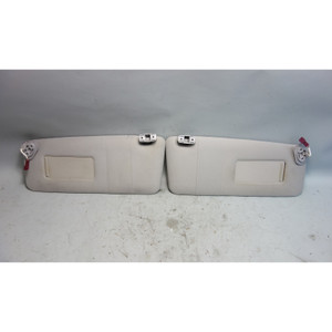 2000-2006 BMW E53 X5 SAV Front Sun Visor Pair Grey Cloth w Stains Mirrors OEM - 29578
