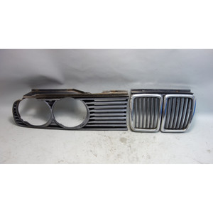 1984-1993 BMW E30 3-Series Center Kidney and Right Headlight Grille Pair OEM - 29871