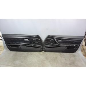 2008-2013 BMW E92 E93 M3 2door Interior Door Panel Trim Skin Pair Black Leather - 30530