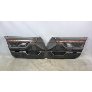 BMW E38 740i Factory Front Interior Door Panel Trim Skin Pair Black Leather OEM - 30595