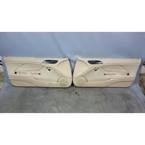 2000-2006 BMW E46 3-Series Front Interior Door Panels Beige Leather Left Right - 31096