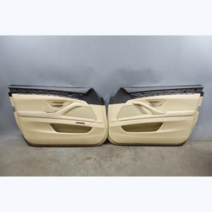 2011-2016 BMW F10 5-Series Front Interior Door Panels Trim Skin Beige Leather OE - 31336