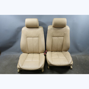1999-2003 BMW E39 5-Series E38 Front Basic Seat Pair Sand Beige Leather OEM - 31636