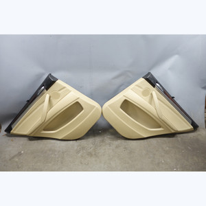 2009-2013 BMW E70 X5 Rear Interior Door Panel Trim Skin Pair Beige Leather OEM - 31705