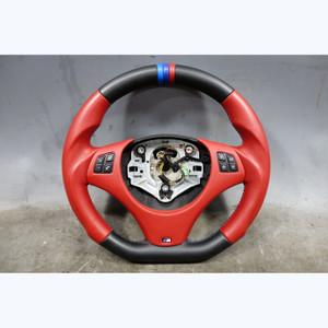 2008-2013 BMW E9x M3 Custom Red Leather M Sport Steering Wheel Flat Bottom ///M - 31748