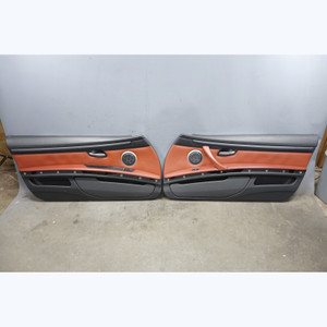 2008-2012 BMW E92 E93 M3 2door Interior Door Panel Trim Pair Fox Red Leather OEM - 31755