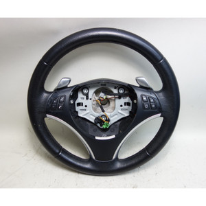 2008-2013 BMW E90 3-Series E82 Factory Sports Leather Steering Wheel w Paddles - 32022