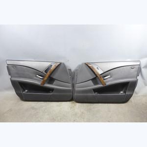 2004-2007 BMW E60 5-Series Early Front Interior Door Panel Trim Pair Black OEM - 32364